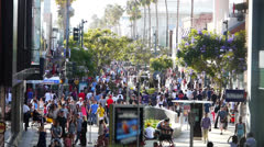 Crowded Santa Monica 3rd Street Promenade Time Lapse Stock Footage