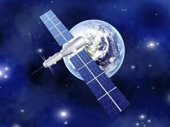 Satellite over the earth Stock Illustration