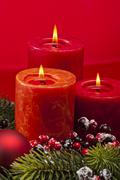 red advent wreath with candles - stock photo
