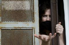 trapped woman - stock photo