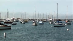 Boats in Monterey Bay with Sounds of Airplane Flying Over Stock Footage
