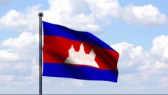 Animated Flag of Cambodia Stock Footage