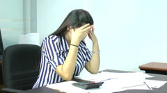Woman frustrated having many debts Stock Footage