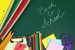 back to school items with copy space - stock photo
