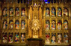 golden altar close up temple of atonement guadalajara - stock photo