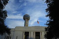 Evening view of Reunion Tower Stock Photos
