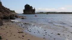 Tillamook Bay in Garibaldi Oregon Sandy Beach at Lowtide with Waves Stock Footage