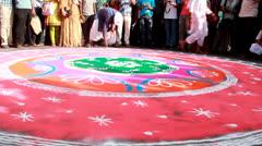 Rangoli In Kolkata Rath Yatra. Stock Footage