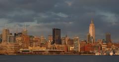 Ultra HD 4K New York City NYC Skyline Golden Sunset Manhattan Corporate Chrysler Stock Footage