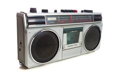 Retro style silver boom box Stock Photos