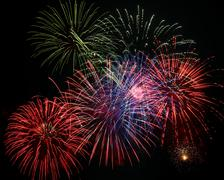 4th of july fireworks display - stock photo
