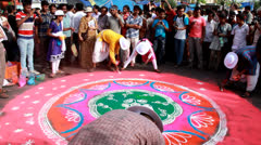 Rangoli In Rath Yatra festival Kolkata. Stock Footage