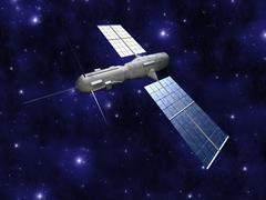 satellite - starfield background. - stock illustration