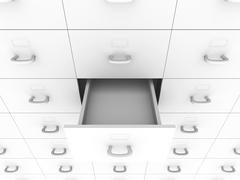 open drawer - filing cabinet - stock illustration