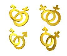 different union of male and female symbols - stock illustration