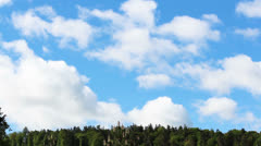 fair weather clouds over the forest - stock footage