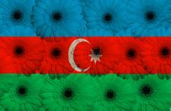 Stock Illustration of stylized  national flag of azerbaijan    with gerbera flowers