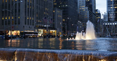 Ultra HD 4K NYC Avenue Of The Americas New York City Busy Traffic Water Fountain Stock Footage