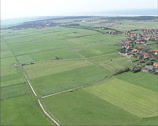 Stock Video Footage of aerial view village of Buren on the island of Ameland, Wadden Sea