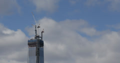 Ultra HD 4K Aerial View Construction Site of One World Trade Center, NYC Skyline Stock Footage