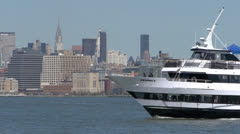 NYC Skyline with boats passing - stock footage