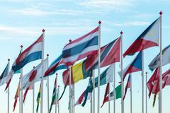 Variety of international flags Stock Photos