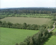 Aerial shot of small scale scenic landscape in Dutch countryside Stock Footage