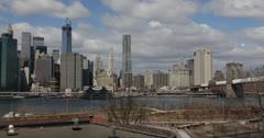 Ultra HD 4K Brooklyn Bridge Heights Park New York City, Freedom Tower Skyline Stock Footage