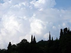 Cloudy sky lowering blue Stock Photos