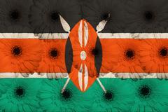 stylized  national flag of kenya    with gerbera flowers - stock illustration