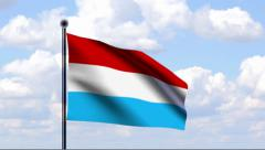 Animated Flag of Luxembourg Stock Footage