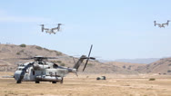Stock Video Footage of Osprey Helicopters of 3rd MAW conducts air lift of battalion