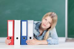 Student with set of files Stock Photos