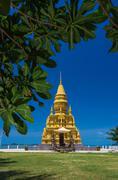 laem sor pagoda on sea background, samui island,thailand - stock photo