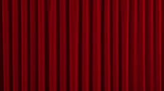 Red Austrian Stage Curtain go UP and DOWN. Stock Footage