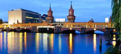 panorama oberbaum bridge, berlin, germany - stock photo