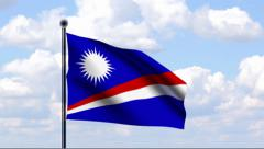 Animated Flag of Marshall Islands Stock Footage