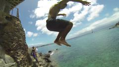 Cliff Jump Hawaii Slow Motion Stock Footage