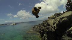 Cliff Dive Front Flip (Slow Motion) - stock footage