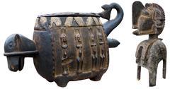 african sculptures - stock photo
