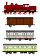 Vintage locomotive and wagons Stock Illustration