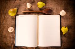 blank cookbook - stock photo