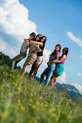 group of girls having fun - stock photo
