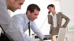 Businessteam working in the office - stock footage