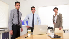 Stock Video Footage of Multi-ethnic businessteam standing in the office