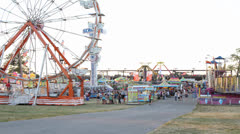 Sunset at County Fair Time Lapse Stock Footage