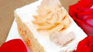 Stock Video Footage of sweet food: cake with whipped cream