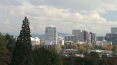 Portland Oregon Cityscape in Autumn and White Clouds Timelapse Stock Footage