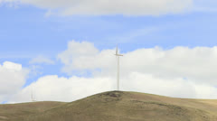 Wind Turbines and Clouds Timelapse with Panning in Washington State Stock Footage