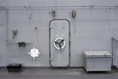 water tight door on a ship - stock photo